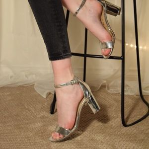 Silver shine block heels size 6.5